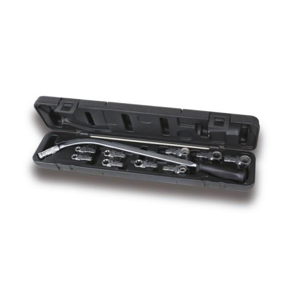 Ключ вигнутий для натяжних гайок і комплектом з 9 насадок, Beta, Італія