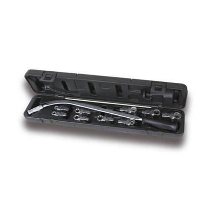 Ключ вигнутий для натяжних гайок і комплектом з 9 насадок, Beta, Італія, фото 2