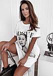 Коротке плаття футболка вільного фасону з нашивкою на грудях трендові літній ( р. 42-48) 73032757, фото 5