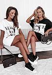 Коротке плаття футболка вільного фасону з нашивкою на грудях трендові літній ( р. 42-48) 73032757, фото 7