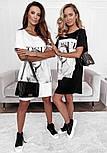 Коротке плаття футболка вільного фасону з нашивкою на грудях трендові літній ( р. 42-48) 73032757, фото 8
