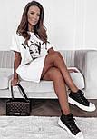 Коротке плаття футболка вільного фасону з нашивкою на грудях трендові літній ( р. 42-48) 73032757, фото 4