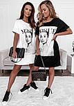Коротке плаття футболка вільного фасону з нашивкою на грудях трендові літній ( р. 42-48) 73032757, фото 3
