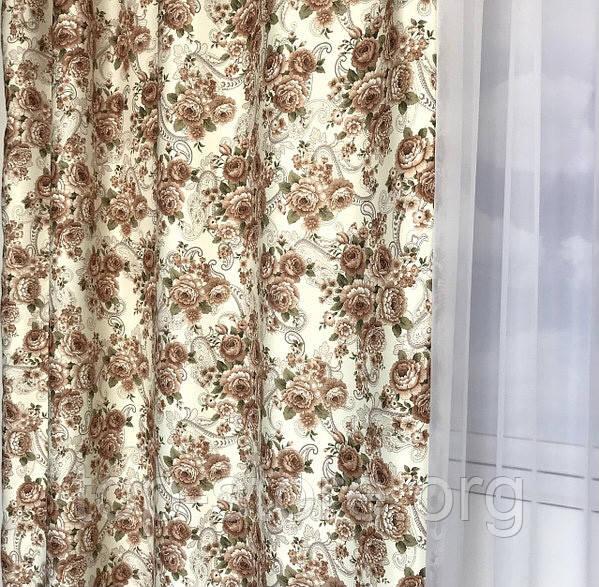Плотные атласные шторы в цветы на тесьме 150х270 см Качественные шторы Цвет Молочный