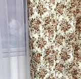 Плотные атласные шторы в цветы на тесьме 150х270 см Качественные шторы Цвет Молочный, фото 3