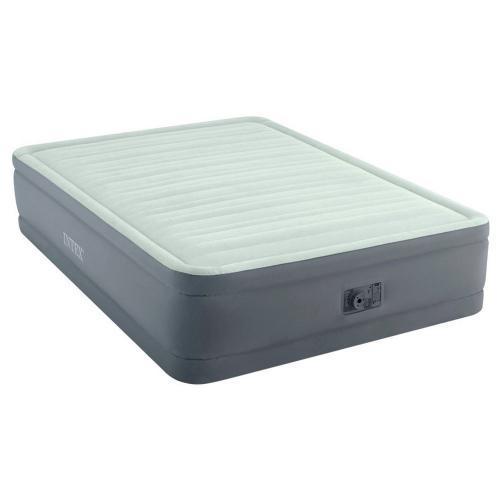 Двоспальне надувна велюрова ліжко Intex 64906, вбудований насос, оливково-сіра