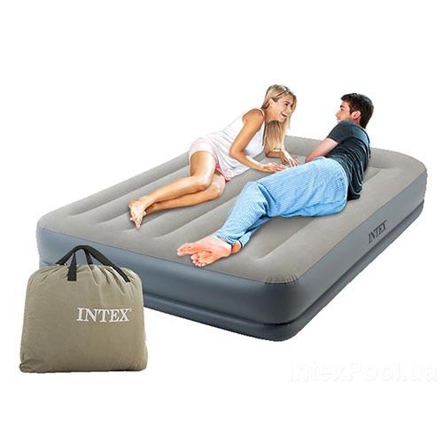 Надувна велюрова ліжко Intex 64118, вбудований електронасос