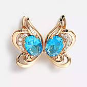 Серьги из медицинского золота с голубым камнем. Ювелирная бижутерия Xuping