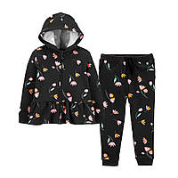 Чорний костюмчик на флісовому начосі Квіточки Картерс для дівчинки