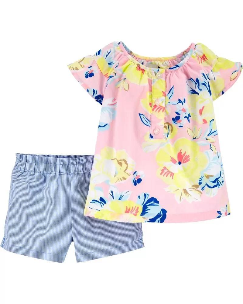 Симпатичный поплиновый костюм - топ и шортики Цветочки Картерс для девочки