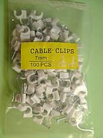Клипса 7 мм для телевизионного кабеля, упаковка 100 шт