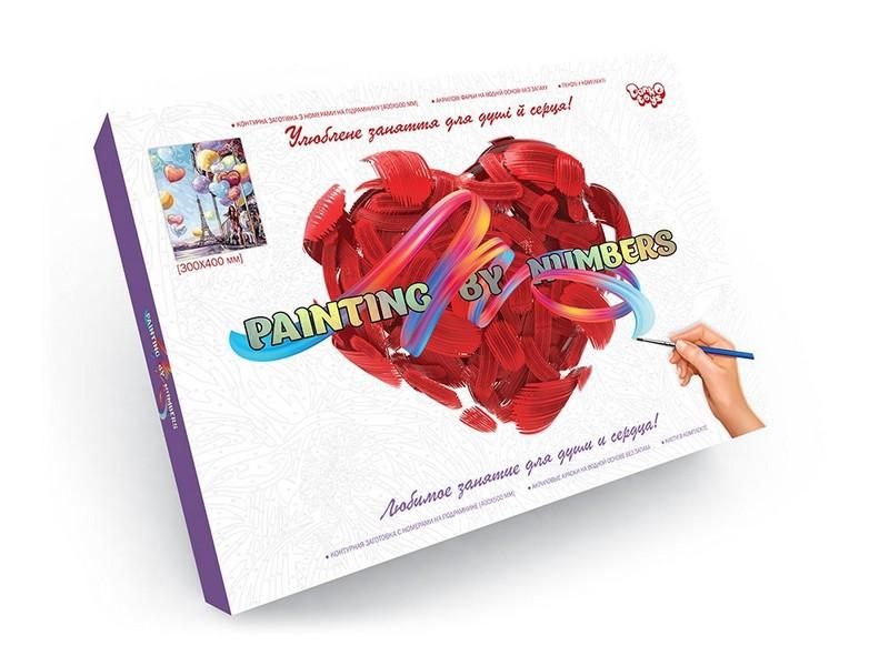 Картина по номерам 40*30см Елфелева вежа, дівчина з кульками Danko Toys, без коробки