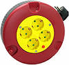 Удлинитель e.es.ring4.4.3.z.h рулеточного типа круглом корпусе 4 4 гнезда 3м с з/к защитой от перегрузки прово