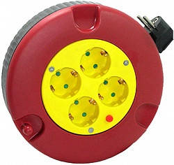 Удлинитель e.es.ring4.4.3.z.h рулеточного типа круглом корпусе 4 4 гнезда 3м с з/к защитой от перегрузки прово, фото 2