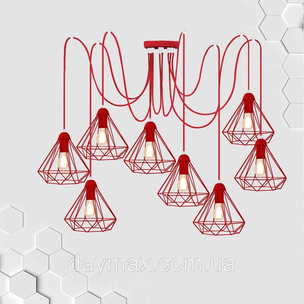 Підвісна люстра павук на 8-ламп DIAMOND-8 E27 червоний 1,5 м.