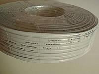 Телефонный кабель 4-х жильный бухта 100 метров, белый