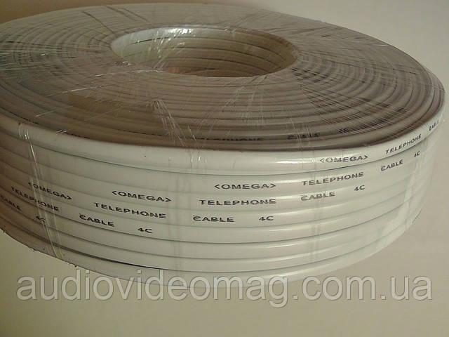 Телефонный кабель 4-х жильный бухта 100 метров, белый, фото 1