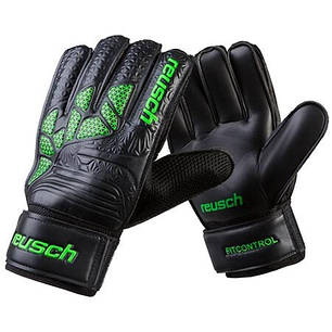 Вратарские перчатки черно-зеленые Latex Foam REUSCH, р.7, фото 2