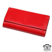 Женский кожаный кошелёк Stefania красного цвета в бархатном мешочке