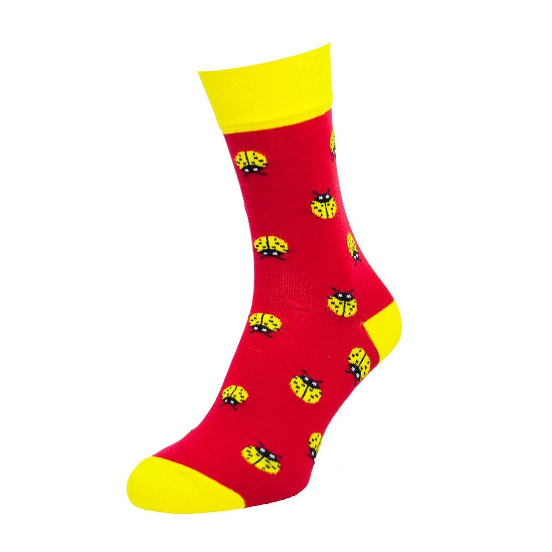 Шкарпетки чоловічі кольорові з бавовни, божа корівка, червоні