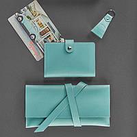 Набор BlankNote Тревел-кейс + обложка для паспорта + брелок Тиффани BN-set-travel-9-tiffany TV, КОД: 778195