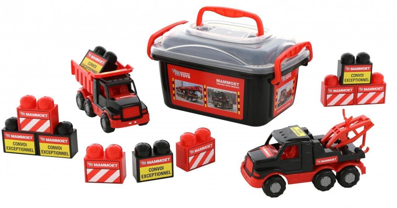"""Набір машинок """"Автомобіль-самоскид + автомобіль-евакуатор + конструктор"""" Polesie 215-01 """"MAMMOET"""" (57143)"""