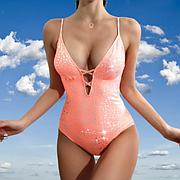 Модный слитный женский купальник (размер M), съемные чашки, яркий двухцветный серебристо-розовый