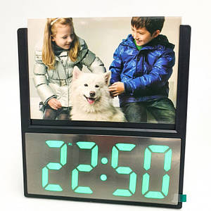 Электронные проводные настольные цифровые часы DS 6608 с фоторамкой Чёрные зелёная подсветка