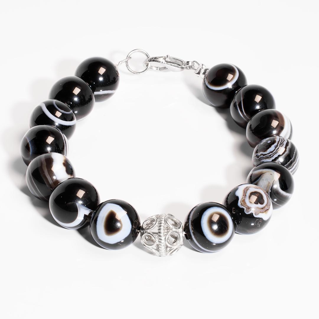 Агат глазковый браслет срібло, 850БРА