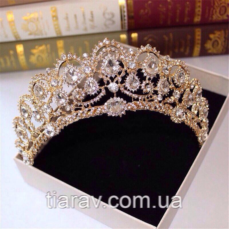 Весільна діадема ЕЛІЗАБЕТ золота тіара для волосся набір тіара і сережки, весільні прикраси