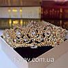 Весільна діадема ЕЛІЗАБЕТ золота тіара для волосся набір тіара і сережки, весільні прикраси, фото 4