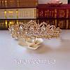 Весільна діадема ЕЛІЗАБЕТ золота тіара для волосся набір тіара і сережки, весільні прикраси, фото 6