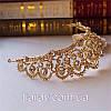 Весільна діадема ЕЛІЗАБЕТ золота тіара для волосся набір тіара і сережки, весільні прикраси, фото 8