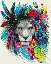 Картина по номерам Зоркий глаз 40*50см Brushme Раскраски Лев Радужные животные Хищные Абстракция