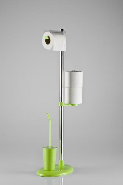 Стойка с держателем туалетной бумаги и ершом цвет зеленый