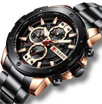 Часы мужские наручные Curren 8336 Black-Cuprum стильные кварцевые оригинальные стальные