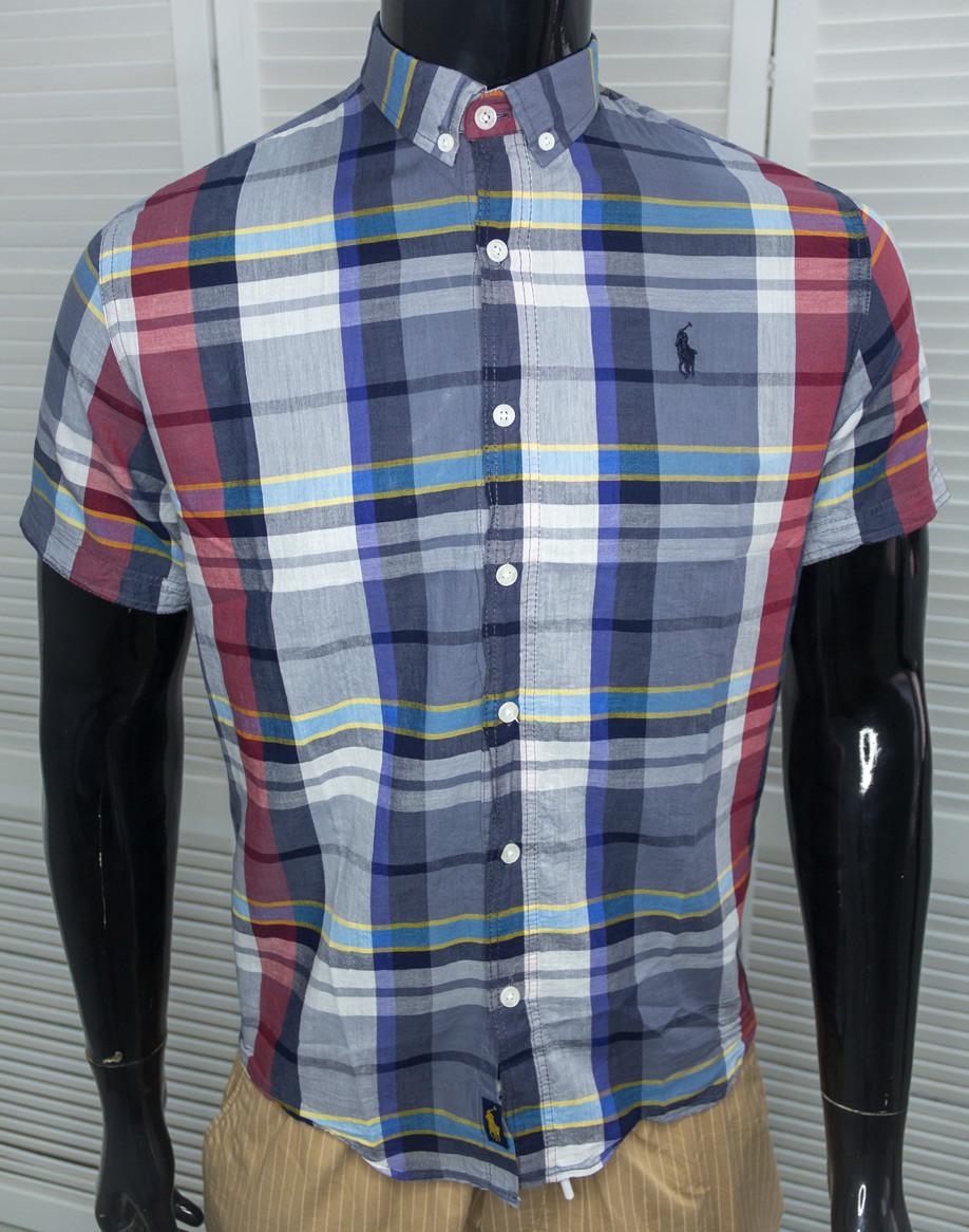 Рубашка мужская брендовая Polo Синяя Хлопковая к/р