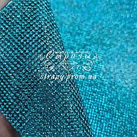 Стразовое термополотно, цвет Aquamarine (ss6) отрезок 24*40см