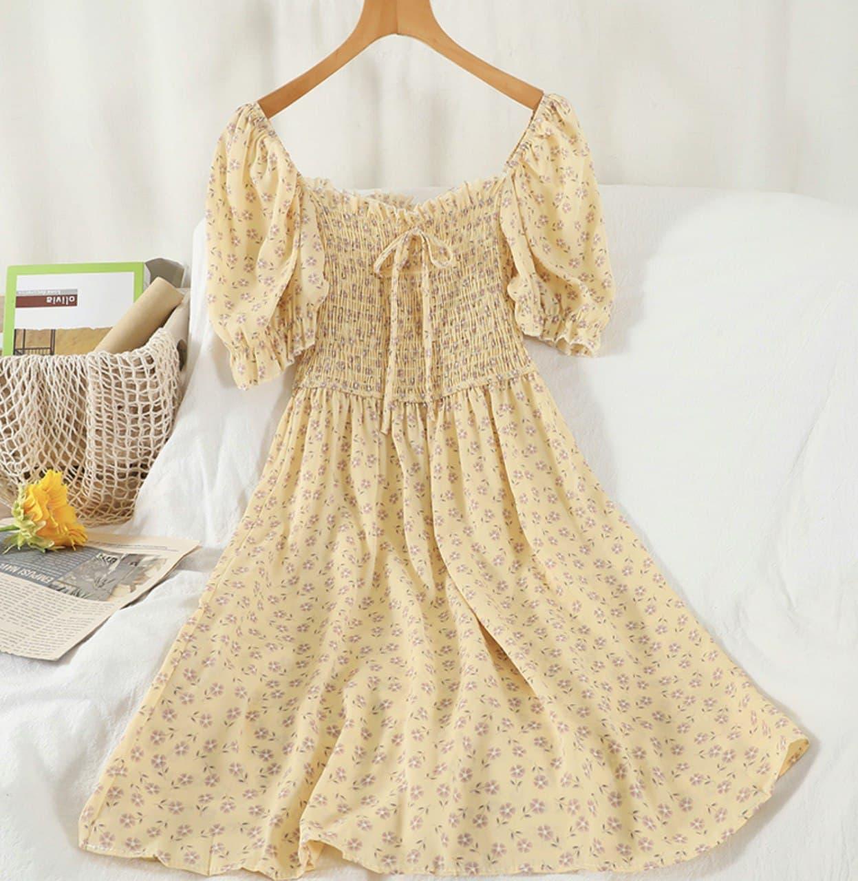 Летнее платье из шифона в цветочный принт с резинкой на талии (р. 42-44) 68032762