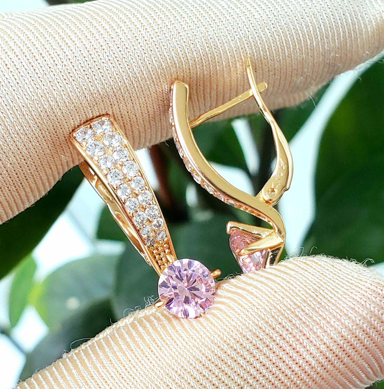 Сережки медзолото Xuping позолочені довжина 2.4 см рожевий цирконій с1028