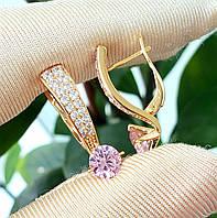 Сережки медзолото Xuping позолочені довжина 2.4 см рожевий цирконій с1028, фото 1