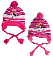Шапка детская вязка на флисе для девочки Minnie Mouse /размер 52 см и 54 см /Польша