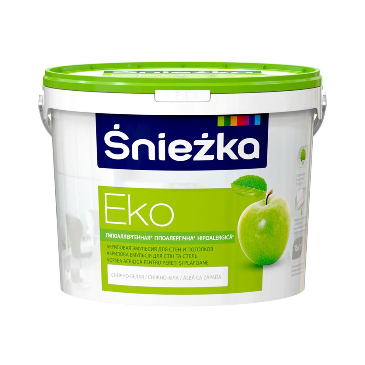 Интерьерная краска для стен и потолка Sniezka Eko белая 14кг