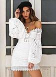 Белое кружевное платье по фигуре с открытыми плечами и объемными рукавами (р. 42-46) 68032766, фото 6