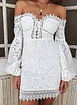 Белое кружевное платье по фигуре с открытыми плечами и объемными рукавами (р. 42-46) 68032766, фото 3