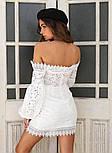Белое кружевное платье по фигуре с открытыми плечами и объемными рукавами (р. 42-46) 68032766, фото 2