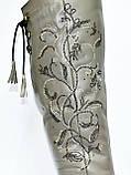 Ботфорты демисезонные кожаные серого цвета., фото 4