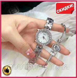 Наручные женские часы подарочный набор для девушек DIOR silver ручные часы для женщин