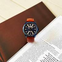 Годинники чоловічі наручні кварцові оригінальні Curren 8379 Blue-Brown класичні з шкіряним PU ремінцем, фото 4