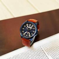 Годинники чоловічі наручні кварцові оригінальні Curren 8379 Blue-Brown класичні з шкіряним PU ремінцем, фото 6